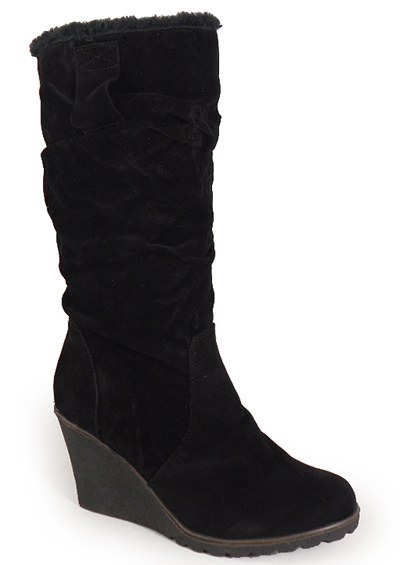new black fur high wedge shoes boots sizes 3 8 ebay