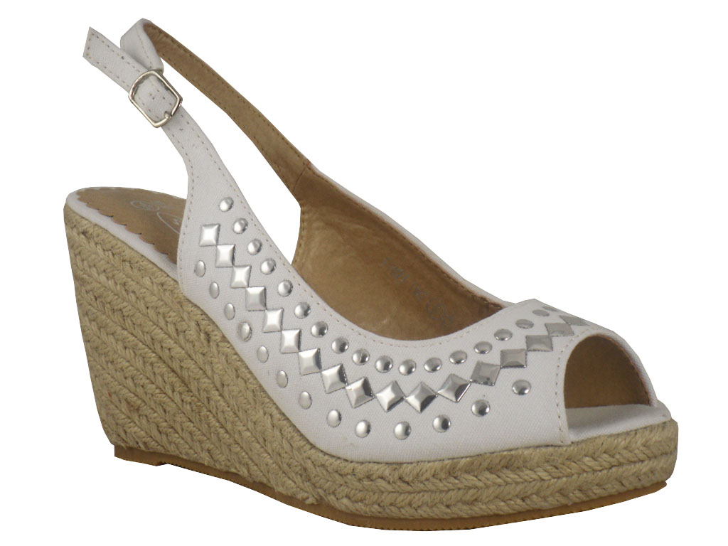 white canvas hessian wedge sandal shoes size 3 8 ebay