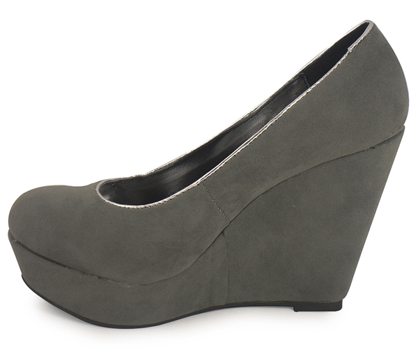 new grey platform wedge shoe court boots siz 3 8 ebay
